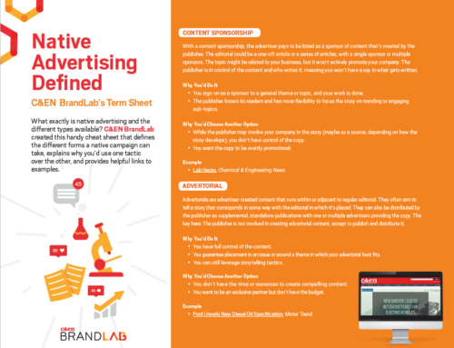Native Advertising Defined: C&EN BrandLab's Term Sheet